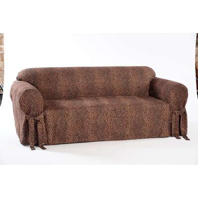 Leopard Print Box Cushion Sofa Slipcover