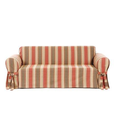 Box Cushion Loveseat Slipcover Upholstery: Rust