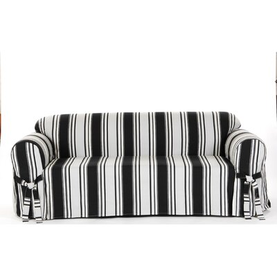 Box Cushion Sofa Slipcover Upholstery: Black