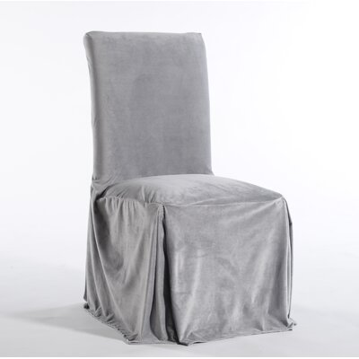 Royal Dining Chair Skirted Slipcover Upholstery: Silver