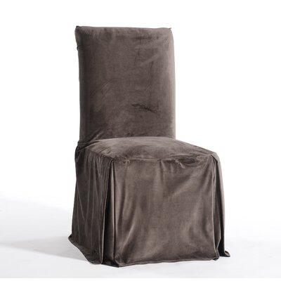 Royal Dining Chair Skirted Slipcover Upholstery: Brown
