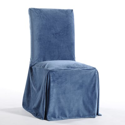 Royal Dining Chair Skirted Slipcover Upholstery: Blue