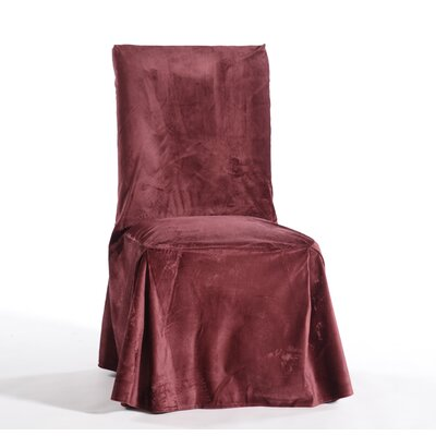 Royal Dining Chair Skirted Slipcover Upholstery: Burgundy