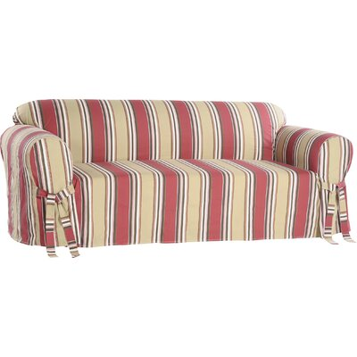 Box Cushion Loveseat Slipcover Upholstery: Red