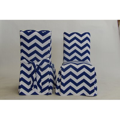 Dining Chair Skirted Slipcover Color: Royal Blue/White