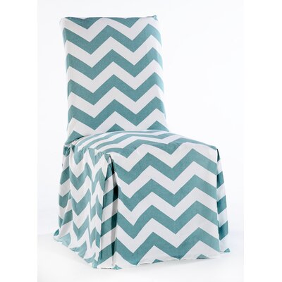 Dining Chair Skirted Slipcover Color: Tiffany Blue/White