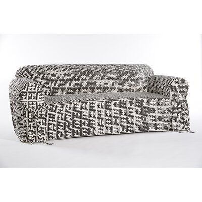 Box Cushion Sofa Slipcover Color: Black/Cream