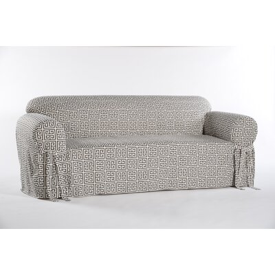 Box Cushion Sofa Slipcover Color: Gray/Cream