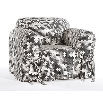 Angel Box Cushion Armchair Slipcover Color: Black/Cream