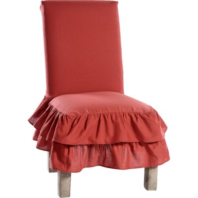 Chair Skirted Slipcover Upholstery: Red