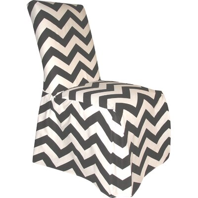 Dining Chair Skirted Slipcover Color: Black/White