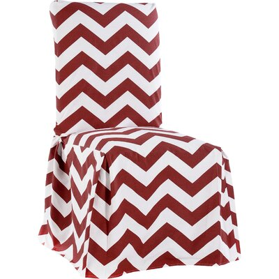 Dining Chair Skirted Slipcover Color: Red/White