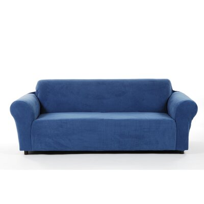 Box Cushion Sofa Slipcover Upholstery: Blue
