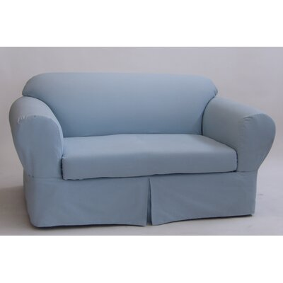 Box Cushion Loveseat Slipcover Upholstery: Light Blue