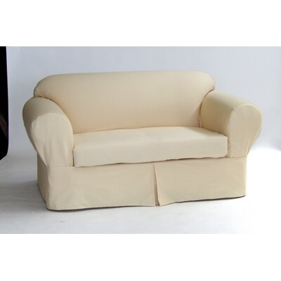 Box Cushion Sofa Slipcover Upholstery: Butter