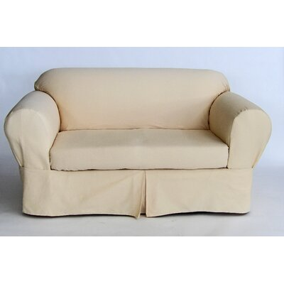 Box Cushion Loveseat Slipcover Upholstery: Butter