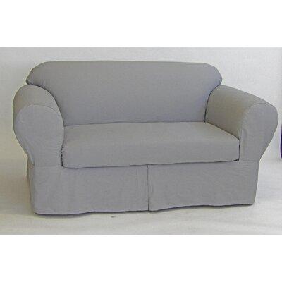2 Piece Box Cushion Loveseat Slipcover Upholstery: Gray