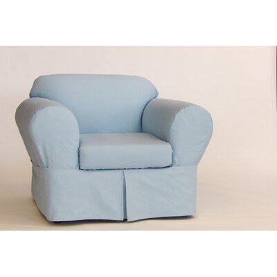 Box Cushion Armchair Slipcover Upholstery: Light Blue