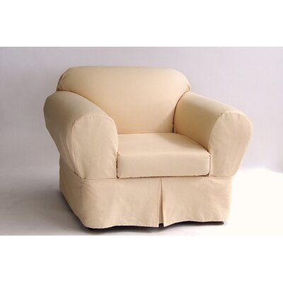 Box Cushion Armchair Slipcover Upholstery: Butter