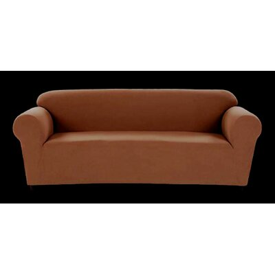 Chamois Stretch Loveseat Slipcover Upholstery: Chocolate