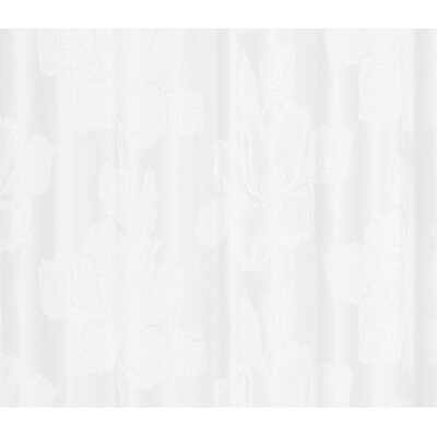 Aguila Floral Textured Shower Curtain Color: White