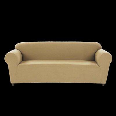 Chamois Stretch Box Cushion Loveseat Slipcover Upholstery: Khaki