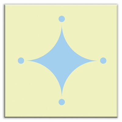 Folksy Love 4-1/4 x 4-1/4 Satin Decorative Tile in A-boo Light Blue-Yellow