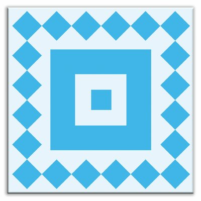 Folksy Love 6 x 6 Glossy Decorative Tile in Checkers Blue-Light Blue
