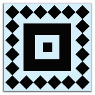 Folksy Love 4-1/4 x 4-1/4 Satin Decorative Tile in Checkers Black-Light Blue