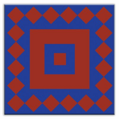 Folksy Love 6 x 6 Satin  Decorative Tile in Checkers Red-Blue