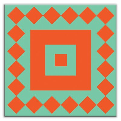 Folksy Love 4-1/4 x 4-1/4 Glossy Decorative Tile in Checkers Red/Orange-Green
