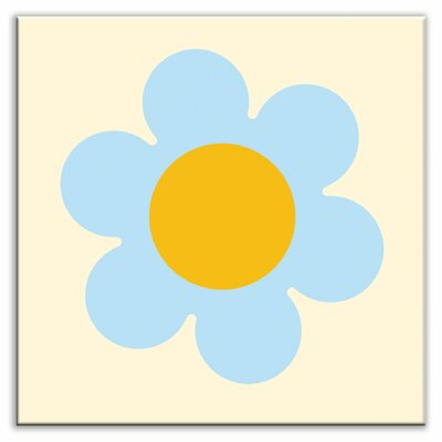 Folksy Love 4-1/4 x 4-1/4 Glossy Decorative Tile in Retro Daisy
