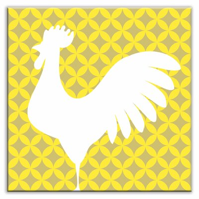 Folksy Love 6 x 6 Satin Decorative Tile in Doodle-Do Yellow Left