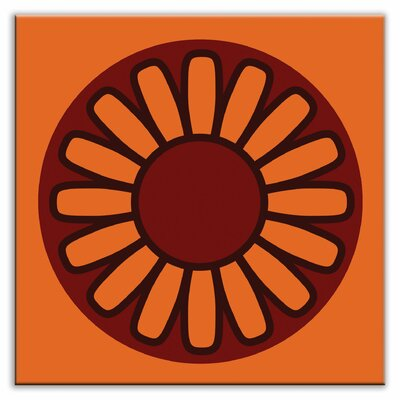 Folksy Love 6 x 6 Glossy Decorative Tile in Floral Wheel Orange