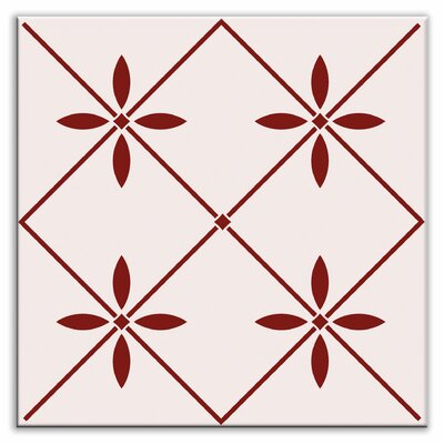 Folksy Love 4-1/4 x 4-1/4 Glossy Decorative Tile in Glass Burgundy