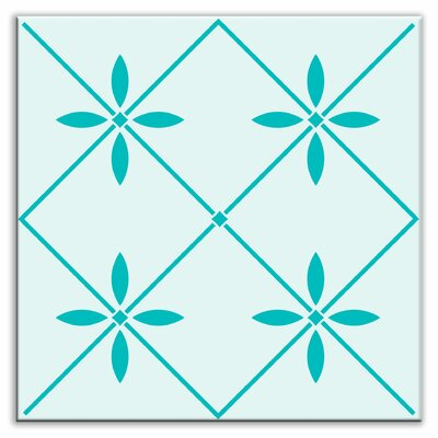 Folksy Love 4-1/4 x 4-1/4 Satin Decorative Tile in Glass Green