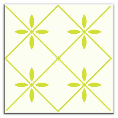 Folksy Love 4-1/4 x 4-1/4 Satin Decorative Tile in Glass Yellow-Green