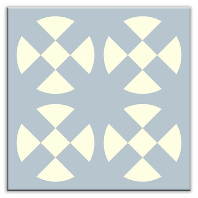 Folksy Love 4-1/4 x 4-1/4 Satin Decorative Tile in Hot Plates Gray-Blue