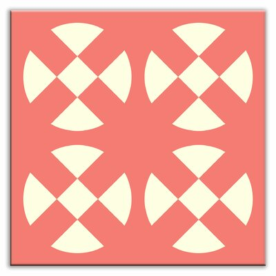 Folksy Love 4-1/4 x 4-1/4 Satin Decorative Tile in Hot Plates Pink