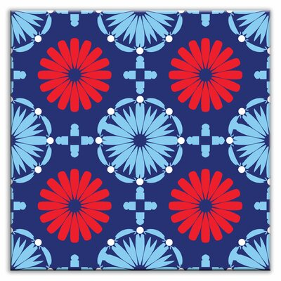 Folksy Love 4-1/4 x 4-1/4 Satin Decorative Tile in Kaleidoscope Blue-Red