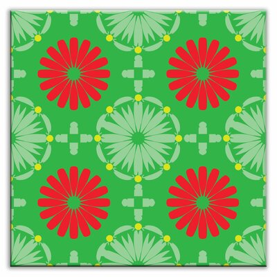 Folksy Love 4-1/4 x 4-1/4 Satin  Decorative Tile in Kaleidoscope Green-Red