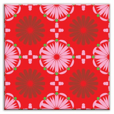 Folksy Love 4-1/4 x 4-1/4 Glossy Decorative Tile in Kaleidoscope Pink-Red