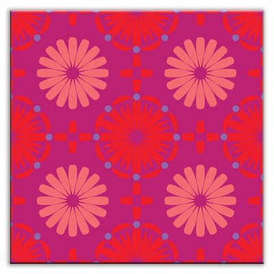 Folksy Love 6 x 6 Glossy Decorative Tile in Kaleidoscope Red-Purple-Pink