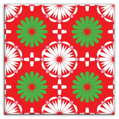 Folksy Love 4-1/4 x 4-1/4 Satin Decorative Tile in Kaleidoscope White-Green-Red
