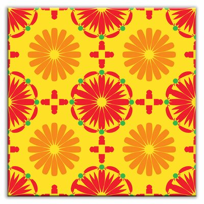 Folksy Love 4-1/4 x 4-1/4 Glossy Decorative Tile in Kaleidoscope Yellow-Orange-Red