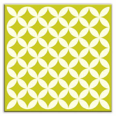 Folksy Love 4-1/4 x 4-1/4 Glossy Decorative Tile in Needle Point Avocado
