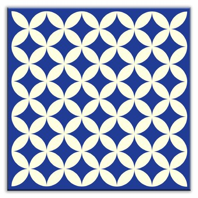 Folksy Love 4-1/4 x 4-1/4 Glossy Decorative Tile in Needle Point Blue