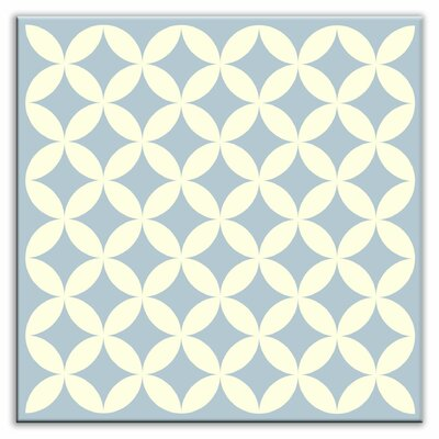 Folksy Love 6 x 6 Satin Decorative Tile in Needle Point Blue Gray