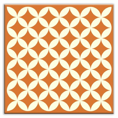 Folksy Love 4-1/4 x 4-1/4 Satin Decorative Tile in Needle Point Orange