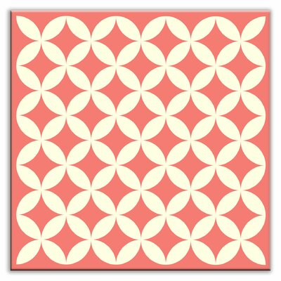 Folksy Love 4-1/4 x 4-1/4 Satin Decorative Tile in Needle Point Pink